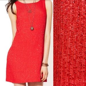Free People Beaded Shift Mini Party Dress: Red